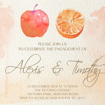 Apple and Orange Wedding Invitation